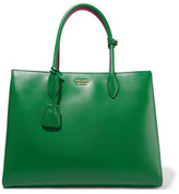 Prada Bibliothèque Large Color-block Leather Tote - Forest green