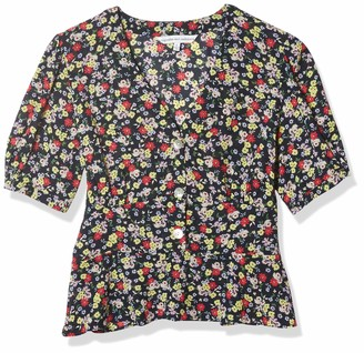 Cupcakes And Cashmere Women's Meg Neon Blooms Ditsy V-Neck Peplum Top with Puffy Sleeves