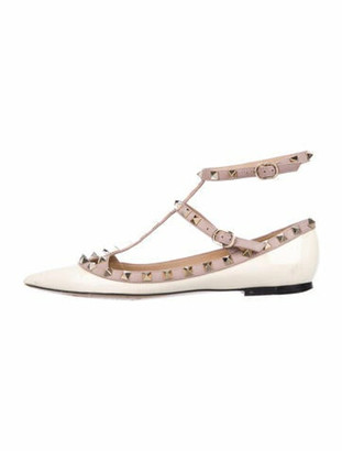 Valentino Rockstud Accents Patent Leather Flats White