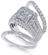 Macy's Diamond 3-Pc. Bridal Set (3 ct. t.w.) in 14k White Gold