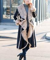 Donna Salyers' Fabulous Faux Furs Donna Salyers' Fabulous-Faux Furs Women's Car Coats Black - Black Faux Fur-Lined Longline Coat - Women & Plus