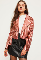 Missguided Petite Exclusive Rose Gold Faux Leather Biker Jacket