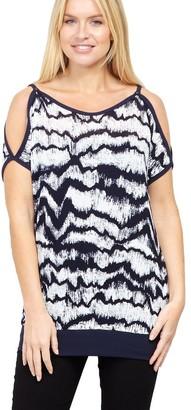 M&Co Izabel blurred cold shoulder top