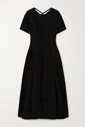 Loewe Tie-detailed Topstitched Crepe Midi Dress - Black