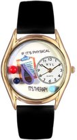 Whimsical Watches Women's C0610006 Classic Gold Physical Therapist Black Leather And Goldtone Watch