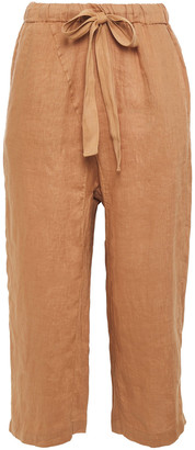 Stateside Belted Cropped Linen Straight-leg Pants