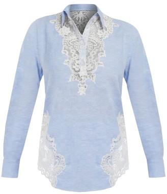Cliché Reborn Embroidered Summer Linen Shirt In Blue