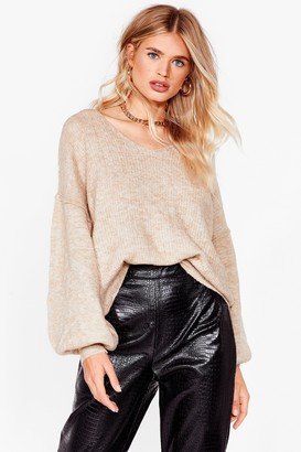 Nasty Gal Womens Warm Up to Me Balloon Sleeve Sweater - Camel