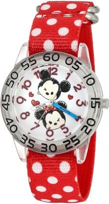 Disney Girls' Mickey Mouse Analog-Quartz Watch with Nylon Strap Red 16 (Model: W003002)