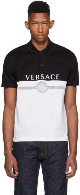 Versace Black and White Logo Polo