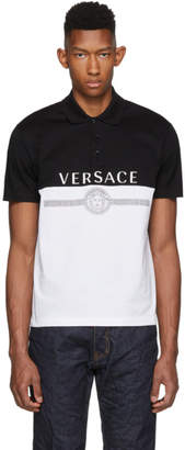 Versace Black and White Logo Polo