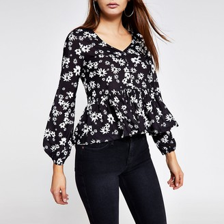 River Island Black printed ruffle button front blouse