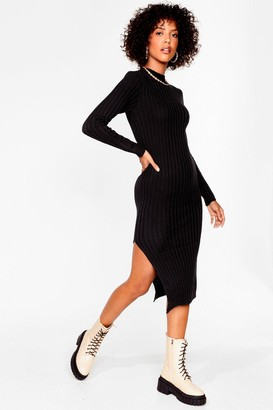 Nasty Gal Womens Rib Will Only Take a Minute Knitted Midi Dress - Black