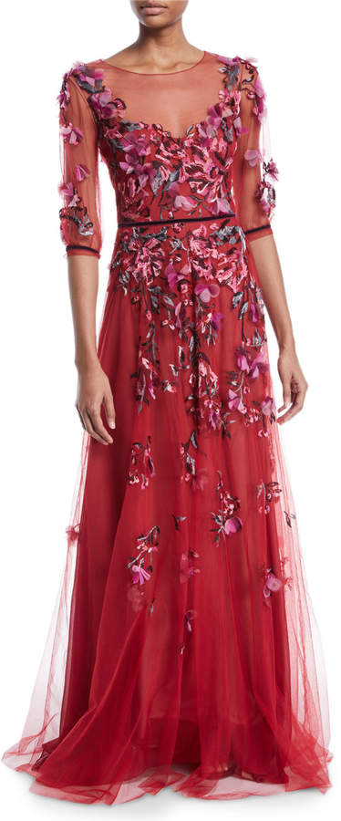 Marchesa Slit-Sleeve Allover Bead & Tulle Gown