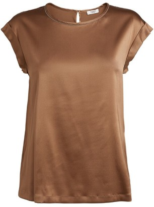 Peserico Embellished Satin T-Shirt