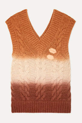 Off-White Appliquéd Ombré Cable-knit Wool And Cashmere-blend Vest - Orange
