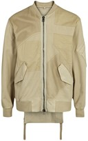 Helmut Lang Ma-1 Stone Cotton And Mesh Bomber Jacket