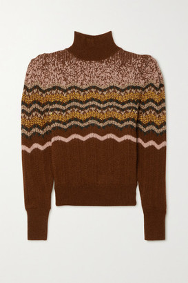Vanessa Bruno Pipo Fair Isle Alpaca-blend Turtleneck Sweater - Brick