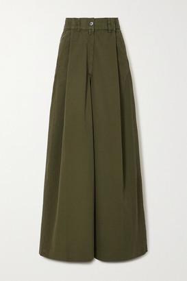 Dries Van Noten Pleated Cotton-twill Wide-leg Pants - Army green