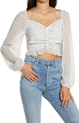4SI3NNA the Label Hazel Clip Dot Ruched Top