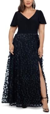 Xscape Evenings Plus Size 3D Flower A-Line Gown