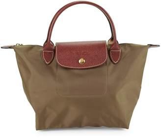 Longchamp Le Pliage Leather-Trim Top Handle Bag