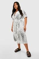 boohoo Plus Star Print Button Detail Midi Dress
