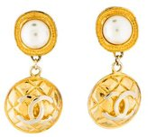 Chanel Faux Pearl Quilted Drop Earrings
