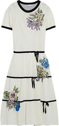 RED Valentino Embroidered Pointelle-knit Cotton Dress