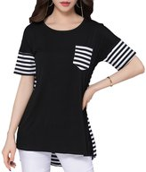 Feixiang Fashion Comfy Crew Neck Short Sleeve Pocket T-shirt for Ladies and Girls