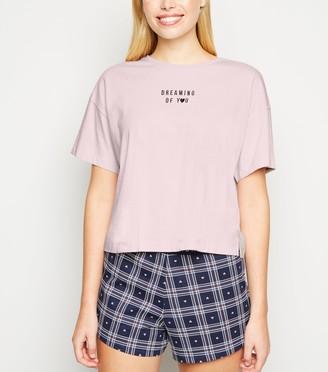 New Look Dreaming Of You Slogan Check Pyjama Set