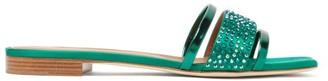 Malone Souliers Rosa Crystal-embellished Satin Slides - Womens - Dark Green