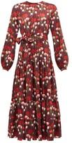Borgo de Nor Augustina Floral-print Jacquard-satin Midi Dress - Womens - Burgundy