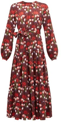 Borgo de Nor Augustina Floral-print Jacquard-satin Midi Dress - Womens - Burgundy
