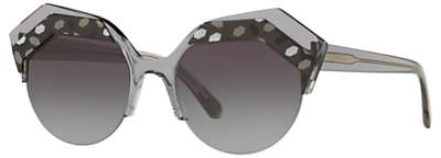 Bvlgari BV8203 Women's Embellished Round Sunglasses, Clear Grey/Grey Gradient