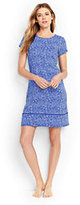 Classic Women's Petite T-Shirt Swim Cover-up Dress-Electric Blue Bandana Paisley