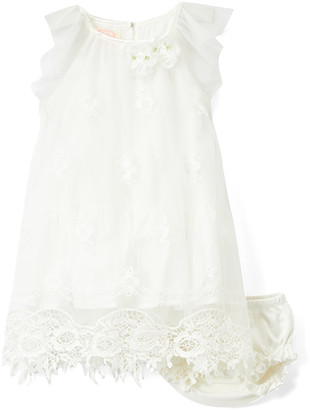 Biscotti Girls' Special Occasion Dresses WHITE - White Floral Angel-Sleeve Dress & Bloomers Set - Infant