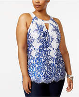 INC International Concepts Plus Size Lace Halter Top, Created for Macy's