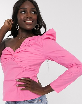 Outrageous Fortune one shoulder puff sleeve knot front top in pink