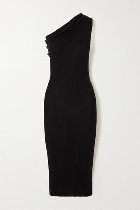 Rick Owens One-shoulder Ribbed Wool Dress - Black
