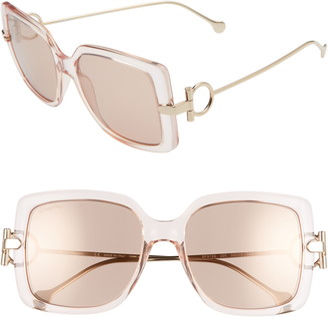Salvatore Ferragamo Gancio 55mm Square Sunglasses