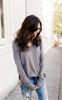 Ily Couture Grey Drop Shoulder V Neck Sweater