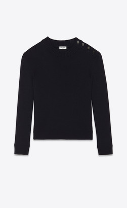 Saint Laurent High-neck Sweater With Buttons Navy L