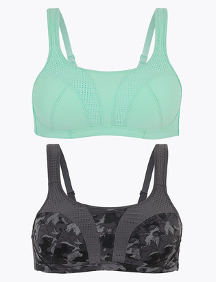 Marks and Spencer 2 Pack High Impact Non Wired Sports Bra A-H