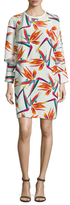 Fendi Silk Print Gathered Sleeve Shift Dress