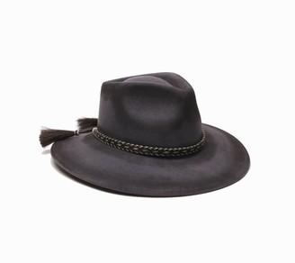Ale By Alessandra Women's Roxy Dene Distressed Felt Hat with Horse Tail Trim