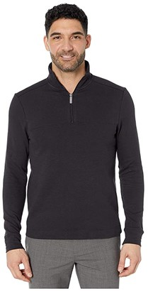 Perry Ellis Ottoman Rib Knit 1/4 Zip Long Sleeve Shirt (Black) Men's Clothing
