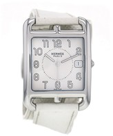 Hermes Cape Cod CC1.810 Stainless Steel White Strap Quartz With White Dial Large Mens Watch