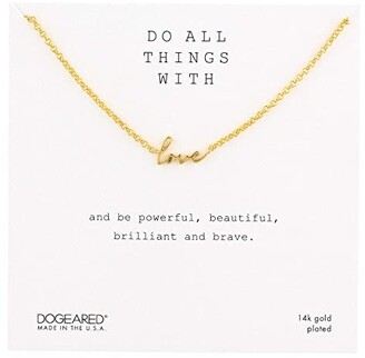 Dogeared Do All Things with Love, Love Script Necklace (Gold Plated) Necklace