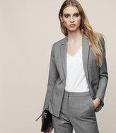 Reiss Austin Jacket - Longline Single-breasted Blazer in Grey, Womens